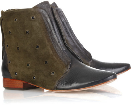 Mea Shadow Suede and leather ankle boots