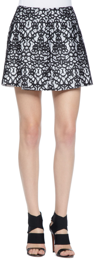 Robert Rodriguez Pleated A-Line Lace Skirt
