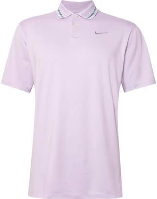 Nike Vapor Logo-Embroidered Striped Stretch Dri-FIT Golf Polo Shirt - Men - Purple