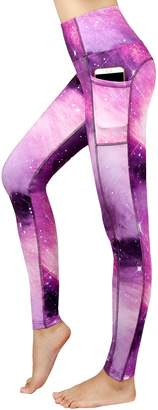 New Minc Women's Galaxy Yoga Pants Capri High Waist Leggings with Pockets(,M)