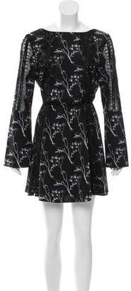 Thakoon Printed Lace-Trimmed Dress