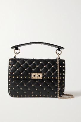 Valentino Garavani The Rockstud Spike Small Quilted Cracked-leather Shoulder Bag - Black