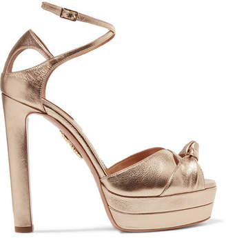 Aquazzura Harlow Metallic Textured-leather Platform Sandals - Bronze