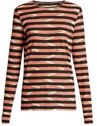 Proenza Schouler Striped Long Sleeved Cotton T Shirt - Womens - Red Print