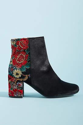 Coral Blue Embellished Ankle Boots