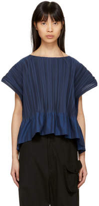 Issey Miyake Blue Frame Pleats Blouse