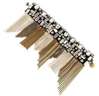 Ranjana Khan Crystal & Leather Fringe Wrap Bracelet