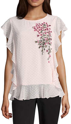 Liz Claiborne Crew Neck Embroidered Ruffle Sleeve Blouse - Tall