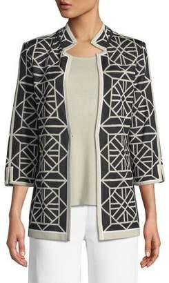 Misook Geo Squares 3/4-Sleeve Jacket