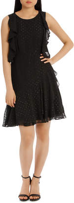 Black/Gold Flutter Sleeveless Dress