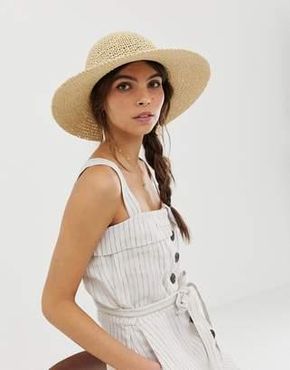 949001c9ae2cc Asos Design DESIGN straw crochet short brim floppy hat with size adjuster