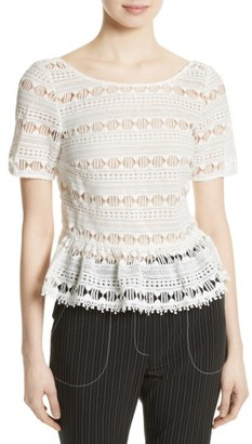 Women's Tracy Reese Flounce Hem Lace Tee $248 thestylecure.com