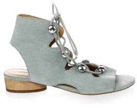 Rebecca Minkoff Embellished Suede Lace-Up Sandals