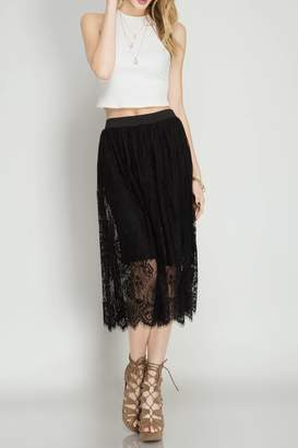 She + Sky Black Lace Skirt
