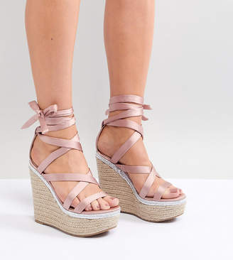Asos DESIGN Trophy Wide Fit Tie Leg High Wedges