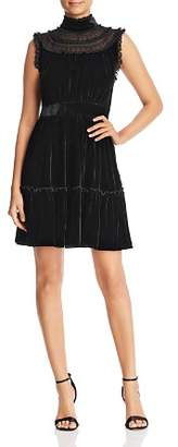 Kate Spade Velvet Lace-Trim Dress