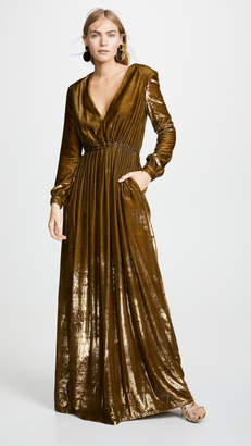 ADAM by Adam Lippes Liquid Velvet V Neck Gown