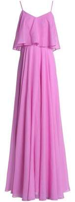 Halston Layered Gathered Voile Gown