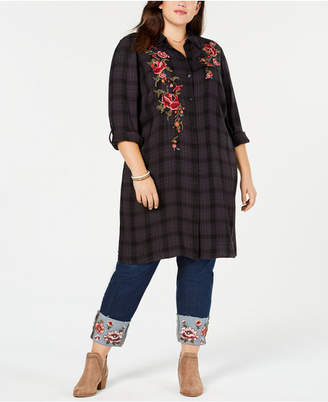 Style&Co. Style & Co Plus Size Plaid Embroidered Long Shirt