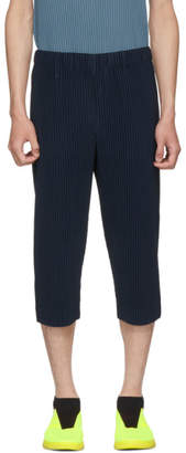 Issey Miyake Homme Plisse Blue MC June Crop Pleated Trousers