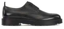 BOSS Italian-made Derby shoes in tumbled leather with rubber heel