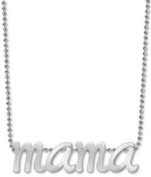 """Alex Woo Mama Scripted 16"""" Pendant Necklace in Sterling Silver"""