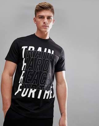 Bershka SPORT Slogan T-Shirt In Black