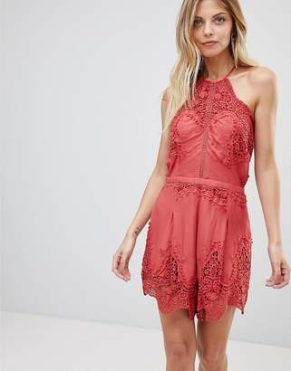 The Jetset Diaries Vierna Lace Halterneck Romper