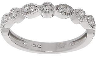Diamonique Round & Marquise Band Ring, Sterlingor 14K Clad