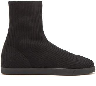 The Row Dean ribbed-top leather boots