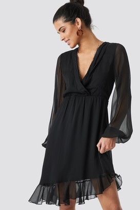 Na Kd Boho Balloon Sleeve Chiffon Mini Dress Black