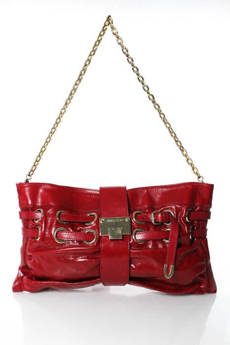 Jimmy ChooJimmy Choo Red Leather Gold Accent Chain Strap Medium Shoulder Handbag