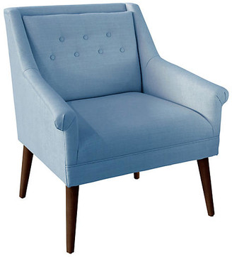 One Kings Lane Bella Tufted Accent Chair - French Blue Linen