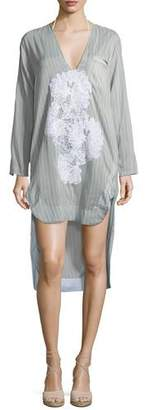 lila.eugenie Scoop-Neck Long-Sleeves Striped Shirtdress with Lace, One Size