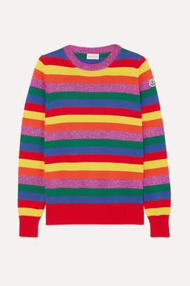 Moncler Striped Metallic Cotton Sweater - Bright yellow