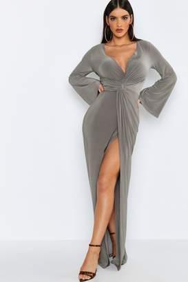 boohoo Flared Sleeve Twist Front Slinky Maxi Dress