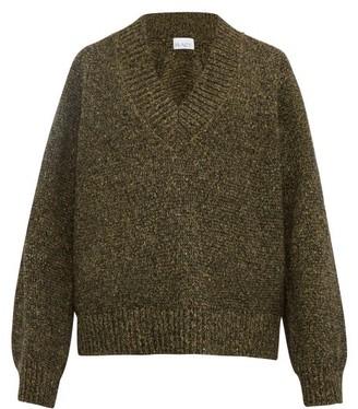 Raey V Neck Tweed Effect Sweater - Mens - Khaki