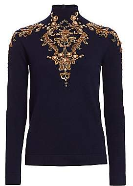 Oscar de la Renta Women's Arabesque Embellished Wool Turtleneck Sweater