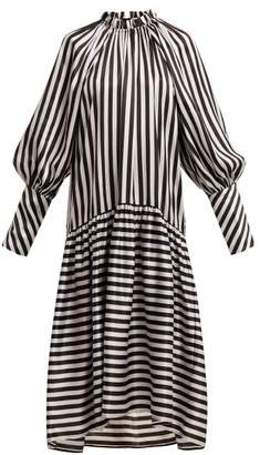 Lee Mathews - Diana Striped Silk Dress - Womens - White Black