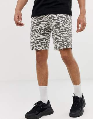 Bershka slim fit denim shorts in zebra print