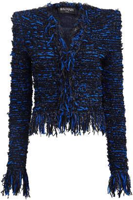 Balmain Fringed Glitter Boucle Jacket