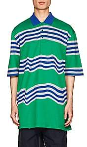 Martine Rose Napa by Men's Ego Striped Cotton Oversized Polo Shirt-Green