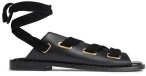 Maje Velvet-trimmed Lace-up Leather Sandals