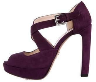 Prada Suede High-Heel Sandals Purple Suede High-Heel Sandals