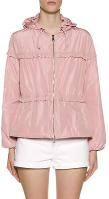 Moncler Prague Hooded Ruffle-Trim Jacket