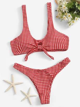 Shein Knot Front Gingham Bikini Set