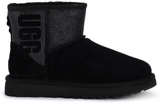 UGG Classic Mini Logo Sparkle Black Suede And Glitter Ankle Boots.