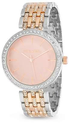 Steve Madden Women's White Jewel Bezel Pink Face Watch, 38mm