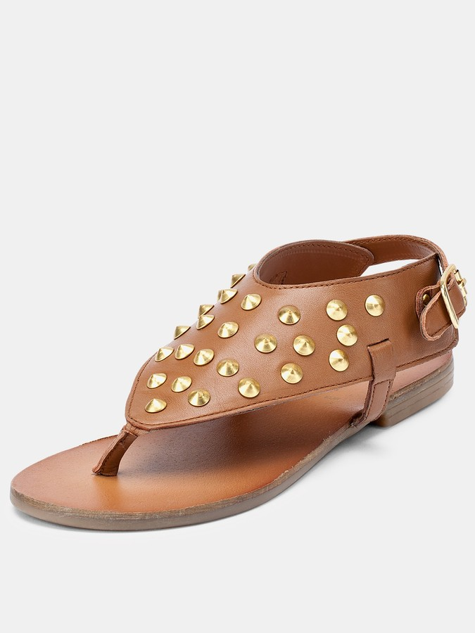 Lake Leather Studded Sandals - Tan