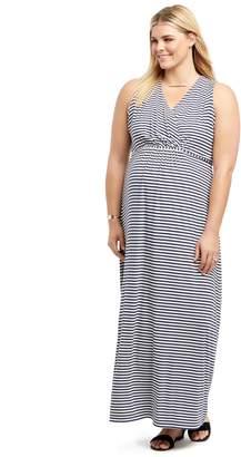 Motherhood Maternity Plus Size Surplice Maternity Maxi Dress- Stripe